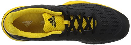 Pictures of adidas Kids' Barricade xJ Tennis Shoe BY9918 Black/White/Yellow 2