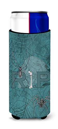 RIP Rest in Peace with spider web Halloween Ultra Beverage Insulators for slim cans SB3004MUK