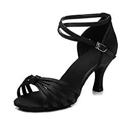 Roymall Women's Black,Satin Latin Dance Shoes,Model 217-7,7 B(M) US