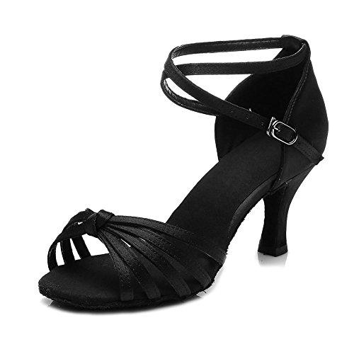 HIPPOSEUS Zapatillas de Baile Latino para Mujer/Satén / Altura del tacón 5CM / 7CM, Modelo ES217 7cm Negro