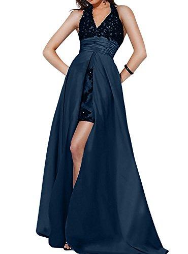 Festlichkleider Schleppe mia Partykleider La Brau Ausschnitt V Brautmutterkleider Neckholder Blau mit Ballkleider Dunkel Spitze Abendkleider znBHw1a