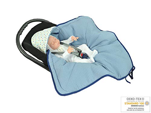 nket | Bunting Bag I Universal Fit for Car Seat | Stroller | Buggy or Baby Bed| 100% Cotton (Blue-Stars) ()