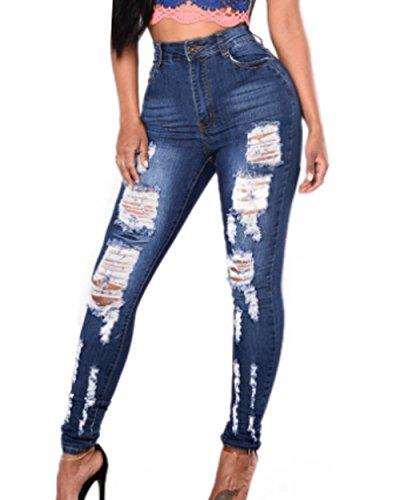 Monika Haute Skinny Longue Jeans Bleu Cass Mode Trou Chic Pantalon Femme Taille Denim O1qErnwO