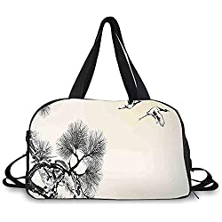 Flying Birds Decor Personality Travel Bag,Ink Style Japanese Pine Tree with Birds Friends Hope Swallow Flying to the Future for Travel Airport,One_Size