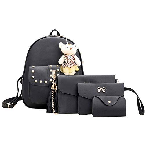 Women Backpack 4 Sets Bear Animals Tassel Shoulder Bag +Clutch Bag,Black
