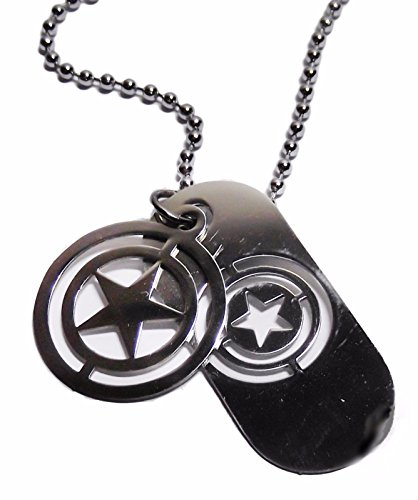 Logo Pendant Shield (Marvel Comics Captain America Shield Logo Stainless Steel Necklace Dog Tags)
