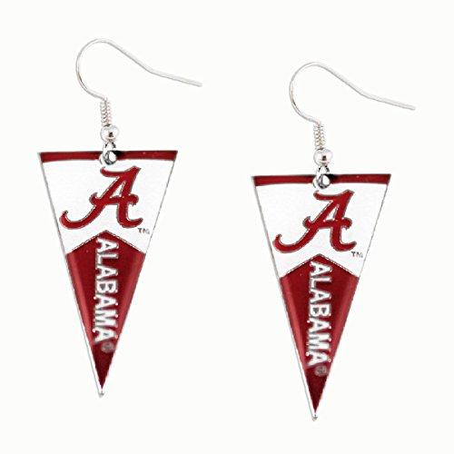 NCAA Alabama Crimson Tide Pennant Earrings, Team Color, 2.5