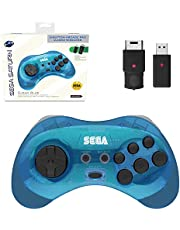 Sega Saturn Clear Blue 8-Button 2.4 GHz Wireless Arcade Pad [Retro-Bit]