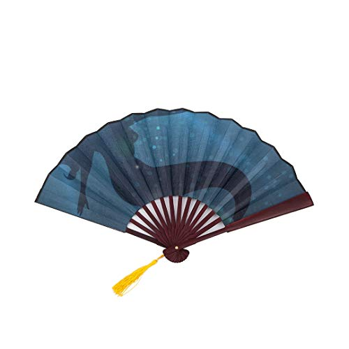 SGFDH Large Folding Hand Fan Beautiful Mermaid in Deep Water with Bamboo Frame Tassel Pendant and Cloth Bag Hand Fan Fan Japanese Folding Fan Large Large Fan Bamboo