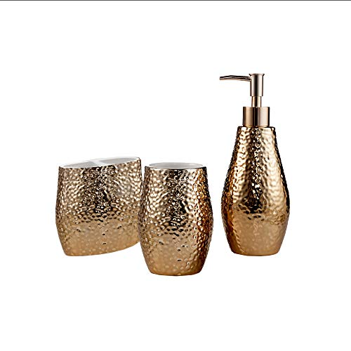 American Atelier Bath Bathroom Accessory Set Ceramic Luxury Includes Soap Lotion Dispenser, Toothbrush Holder, Tooth Tumbler, Rose Gold