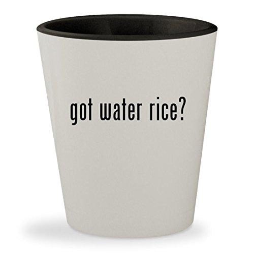 got water rice? - White Outer & Black Inner Ceramic 1.5oz Shot Glass - Aroma Egg Boiler