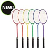 Champion Sports Tempered Steel Twin Shaft Badminton Rackets Set of 6