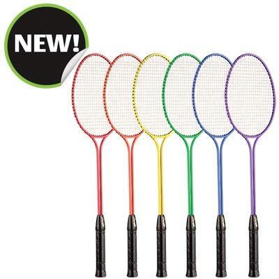 Champion Sports Tempered Steel Twin Shaft Badminton Rackets Set of 6
