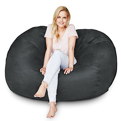 Lumaland Luxury 5-Foot Bean Bag Chair with Microsuede Cover Black, Machine Washable Big Size Sofa and Giant Lounger Furniture for Kids, Teens and Adults
