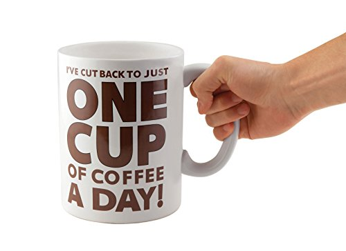 bigmouth inc one cup of coffee gigantic mug funny huge ceramic gag gift for coffee lovers. Black Bedroom Furniture Sets. Home Design Ideas