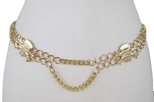 (TFJ Women Fashion Belt Gold Metal Chain Band Hip High Waist Skeleton Skulls M L)