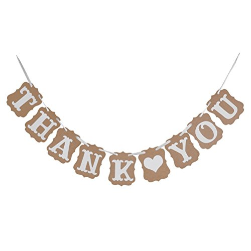 Price comparison product image Pixnor Thank You Wedding Bunting Banner Photo Booth Garland Props Anniversary Bridal Party Decoration