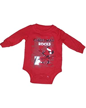 Baby-boys Mickey Mouse Christmas Rocks Graphic Creeper Bodysuit