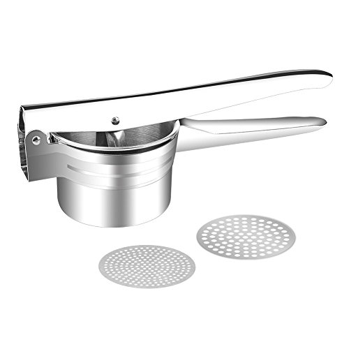 Potato Ricer and Masher, AUKO Stainless Steel Baby Food Mill Fruit Vegetable Press with 2 Replaceable Discs Silver