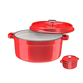 Especo Dutch Oven Enameled Cast Iron With Stainless Steel Knob and Large Loop Handles, Round Nonstick Multi-functional…