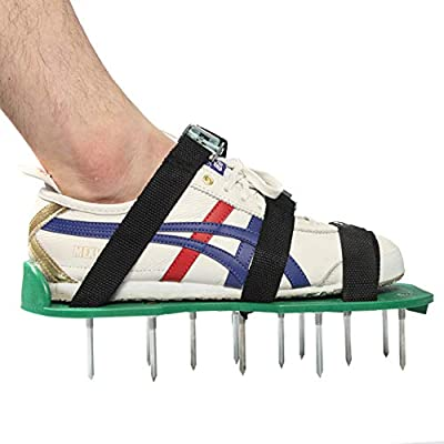 Julitech Lawn Aerator Sandals 1 Pair Garden Cultivator Lawn Shoes with Metal Buttons Funny Garden Tools Special Sporting Shoes Green