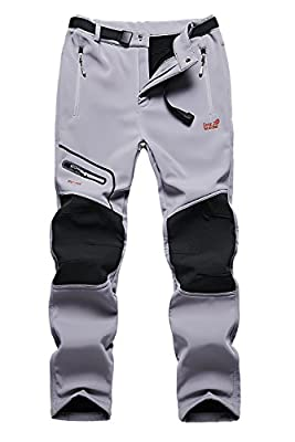 Skyinger Men's Outdoor Windproof Waterproof Softshell Fleece Snow Pants