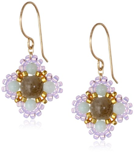 Miguel Ases Small Calcite and Quartz Miyuki Encased Flower Drop Earrings (Calcite Ring)