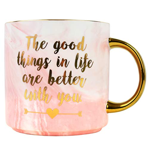Coffee Mug Present for Mom Girlfriend -Birthday Presents for Her Sister Wife Daughter -Pink Marble Ceramic Cup 11 Ounce (World's Best Girlfriend Mug)