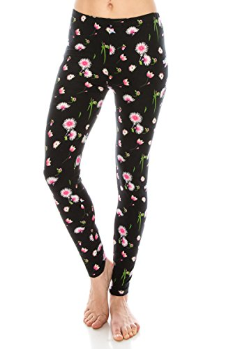 (ALWAYS Women Printed Soft Leggings - Buttery Stretch Floral Plus)