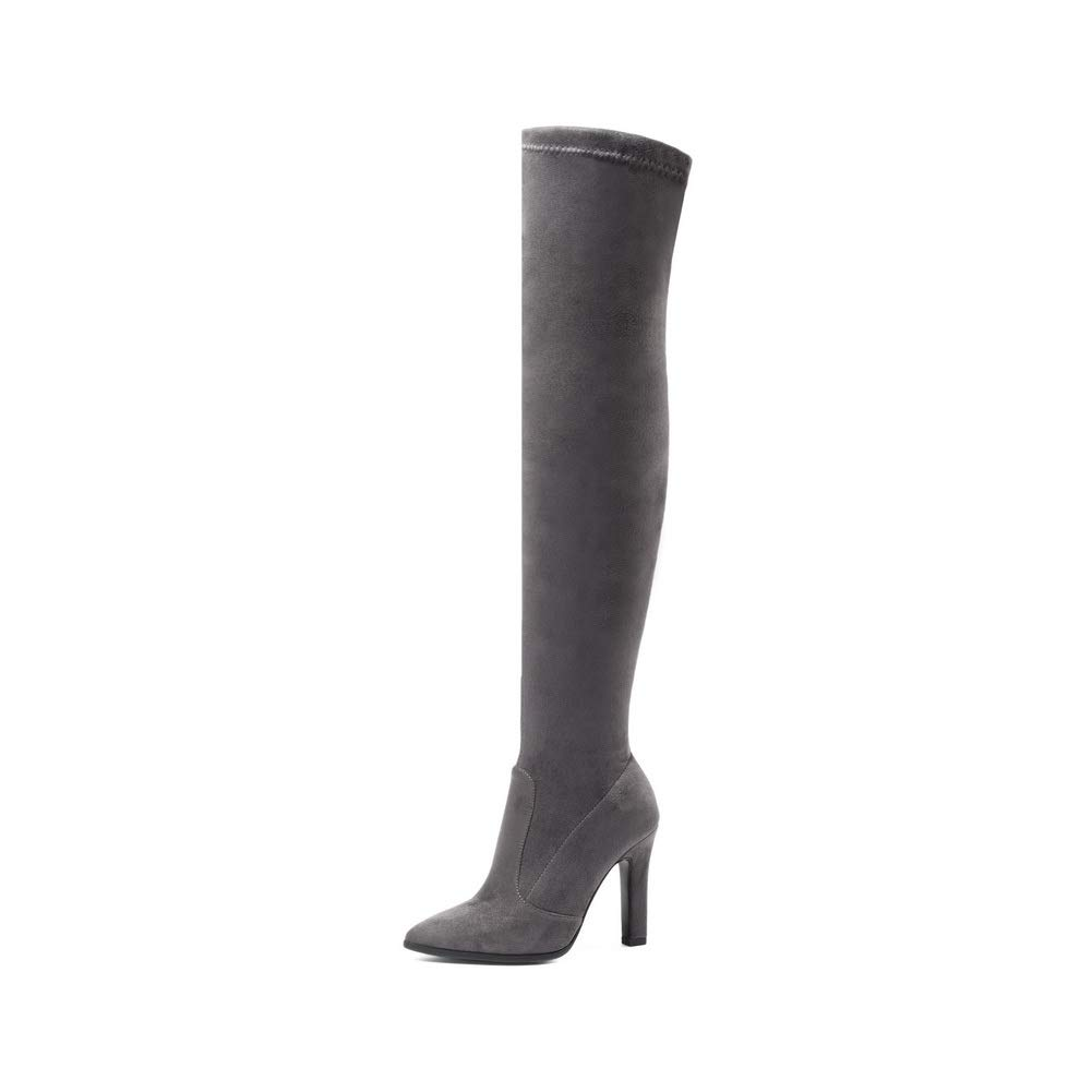 AdeeSu Womens Chunky Heels Pointed-Toe Gray Imitated Suede Boots SXC03784-11 B M US