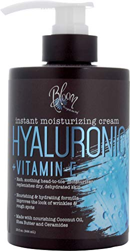 41XPaO4y7QL - Bloom Hyaluronic Acid Cream for Body, Face, and Hands. Anti-aging cream With Coconut Oil, Vitamin E, Aloe Vera and Shea Butter. Large 15oz jar with pump.