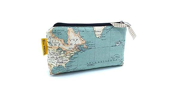 Neceser de tela Mapamundi, Neceser hecho a mano, Estuche sostenible, Neceser de viaje, Estuche tela unisex: Amazon.es: Handmade