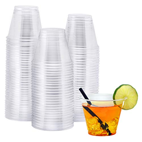 NYHI 100-Pack 9 oz Clear Plastic Cups | Value Pack Of BPA-Free Disposable Party Cup Tumblers | Use These Plastic Glasses for Drinks, Cocktails, Wine, Punch, Champagne & More | Essential Party Supplies (Plastic Glasses Cocktail Large)
