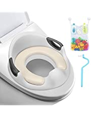 FITNATE Potty Training Seat Fits Round Potty Training Seat U&Oval Toilets With Cushion Handle & Anti-Slip Backrest, Bath Toy Organizer for Boys, Girls, Babies & Toddlers