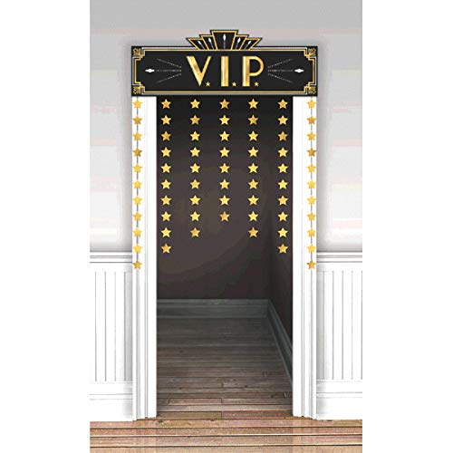Movie Night Hollywood Themed Party ''Lights! Camera! Action!'' Star Studded Door Decoration, Foil, 48'' x 36'' by Amscan