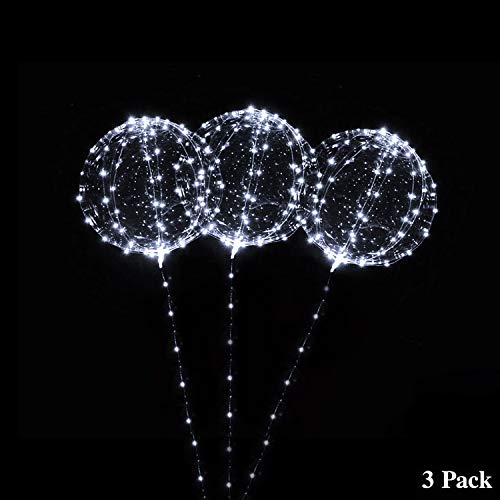 18 Inch 3 PCS Led Light Up BoBo Balloon, Warm White/ Red/ Blue colors, Fillable Transparent Balloons with Helium, Great for Party, House Decorations, Wedding and Party Decoration, Lasts 72 (White)