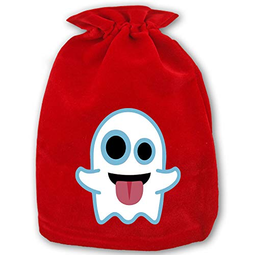 Christmas Drawstring Gift Bags Small Ghost Emoji Halloween Emoticons Emojis Xmas Bag Mini Reusable Bags Bulk for Kids,Holiday Party Candy Favors -