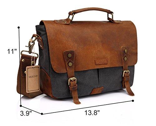 Vaschy Messenger bag for men, Vintage Leather Canvas Satchel 14in Laptop Crossbody Shoulder Bag by Vaschy (Image #2)