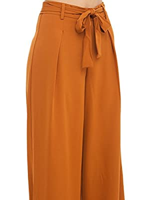HaoDuoYi Womens Wide Leg Tie High Waist Long Palazzo Pants