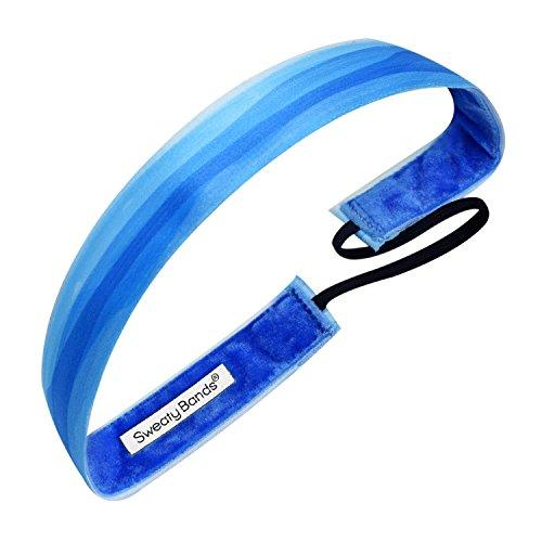 Sweaty Bands Womens Girls Headband - Non-Slip Velvet-Lined Athletic Hairband - Watercolors Blue 1-Inch