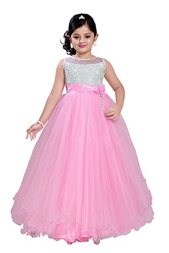 Aarika Girl's Self Design Net and Satin Party Wear Ball Gown (G-2834-PINK_18_2-3 Years) by Aarika