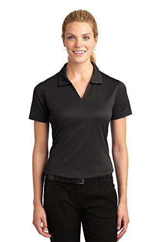 Sport-Tek Ladies Dri-Mesh V-Neck Polo Shirt, XS, Black