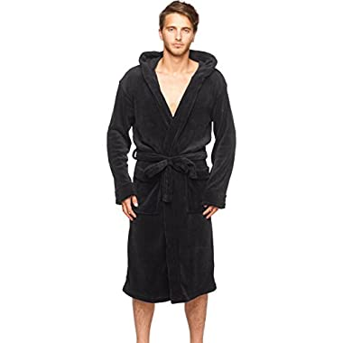 Mens New Black Micro Fleece Hooded Bathrobe by Wanted Large / X-large