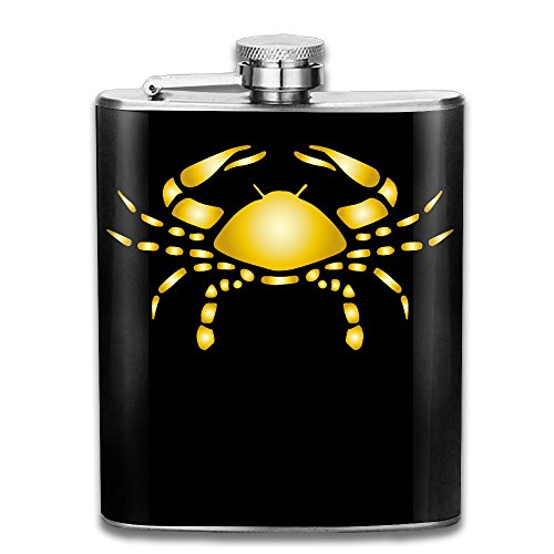 (Gold Zodiac Cancer Flagon Wine Pot Stoup Stainless Steel Flask And Funnel Liquor Alcohol Rum Container Pocket For Adults)