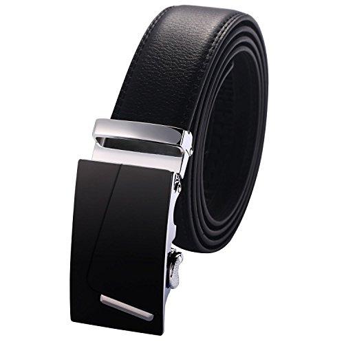Zofirao Men's Leather Belt Sliding Buckle 35mm Ratchet Belt Black Automatic Buckle (35 Mm Bridle)