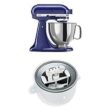 KitchenAid KSM150PSBU Artisan 5-Quart Stand Mixer, Cobalt Blue + KitchenAid KICA0WH Ice Cream Maker Attachment Bundle