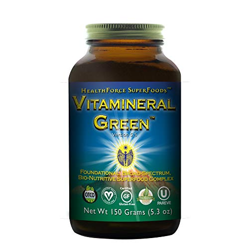 Powder Alkalizing (HealthForce SuperFoods Vitamineral Green Powder - 150 Grams - All Natural Green Superfood Complex with Vitamins, Minerals, Amino Acids & Protein - Organic, Vegan, Gluten Free - 15 Servings)