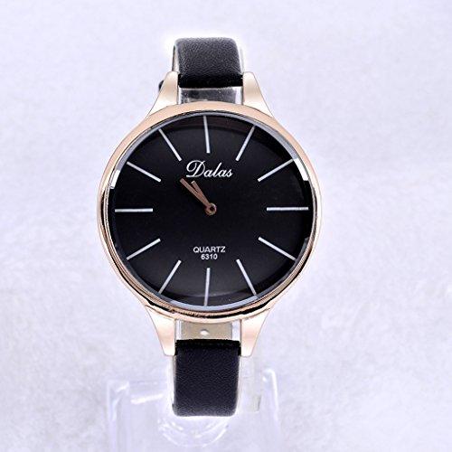 DALAS Brand Women's Faddish Watch - Unique Luxury Sexy Hot Slim Leather Strap Big Dial Quartz Laddy Watch