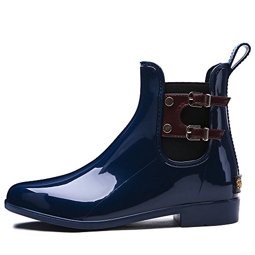 TONGPU Womens New Rain Boots Garden Outdoor Waterproof Footwear Navy ONUvIgK7f9