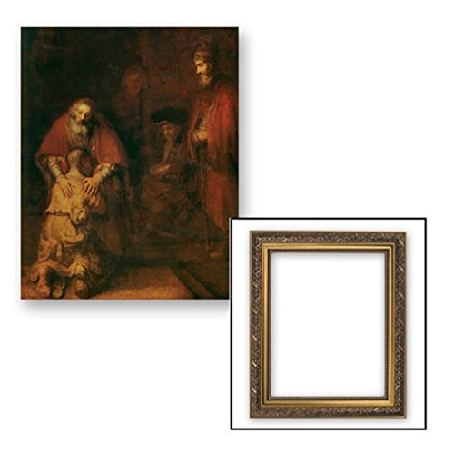 Gerffert Collection Rembrandt Prodigal Son Religious Framed Portrait Print, 13 Inch (Ornate Gold Tone Finish Frame) by Gerffert Collection